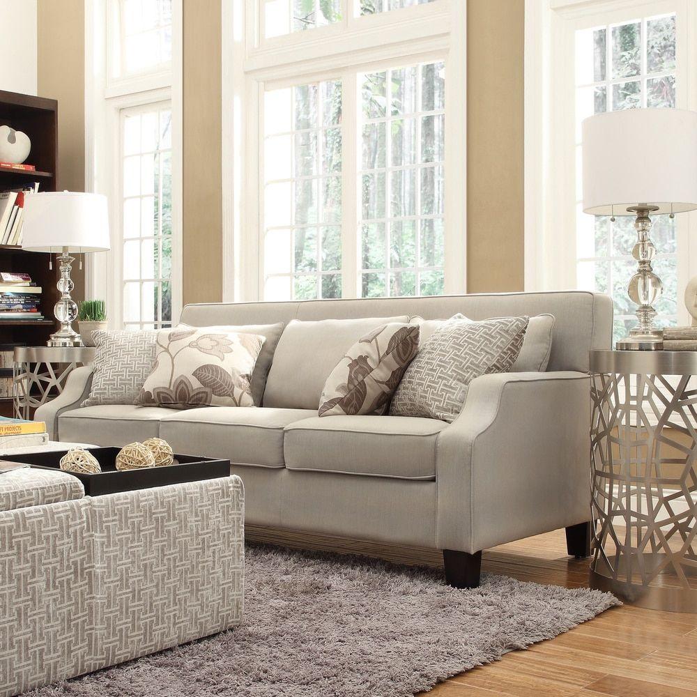 Broadway Grey Fabric Sloped Track Arm Sofa by Inspire Q (Ellyson Tool-Less  Light Grey Fabric Sofa)