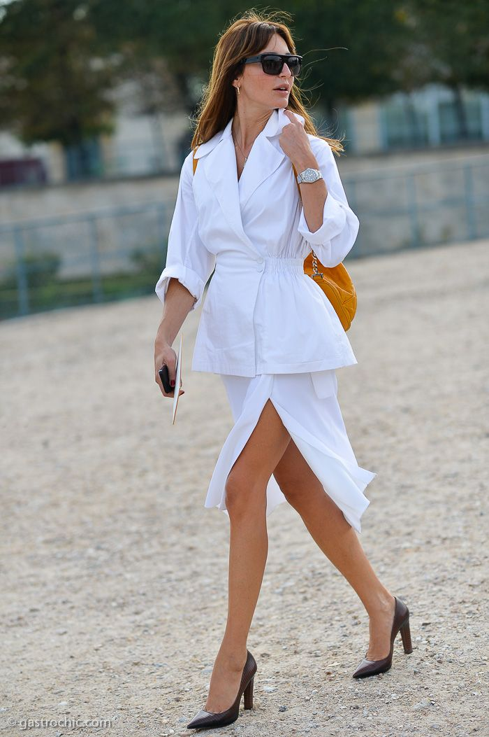Work Outfit Ideas to Try This Winter - white jacket + matching high slit skirt and brown leather pointy heels