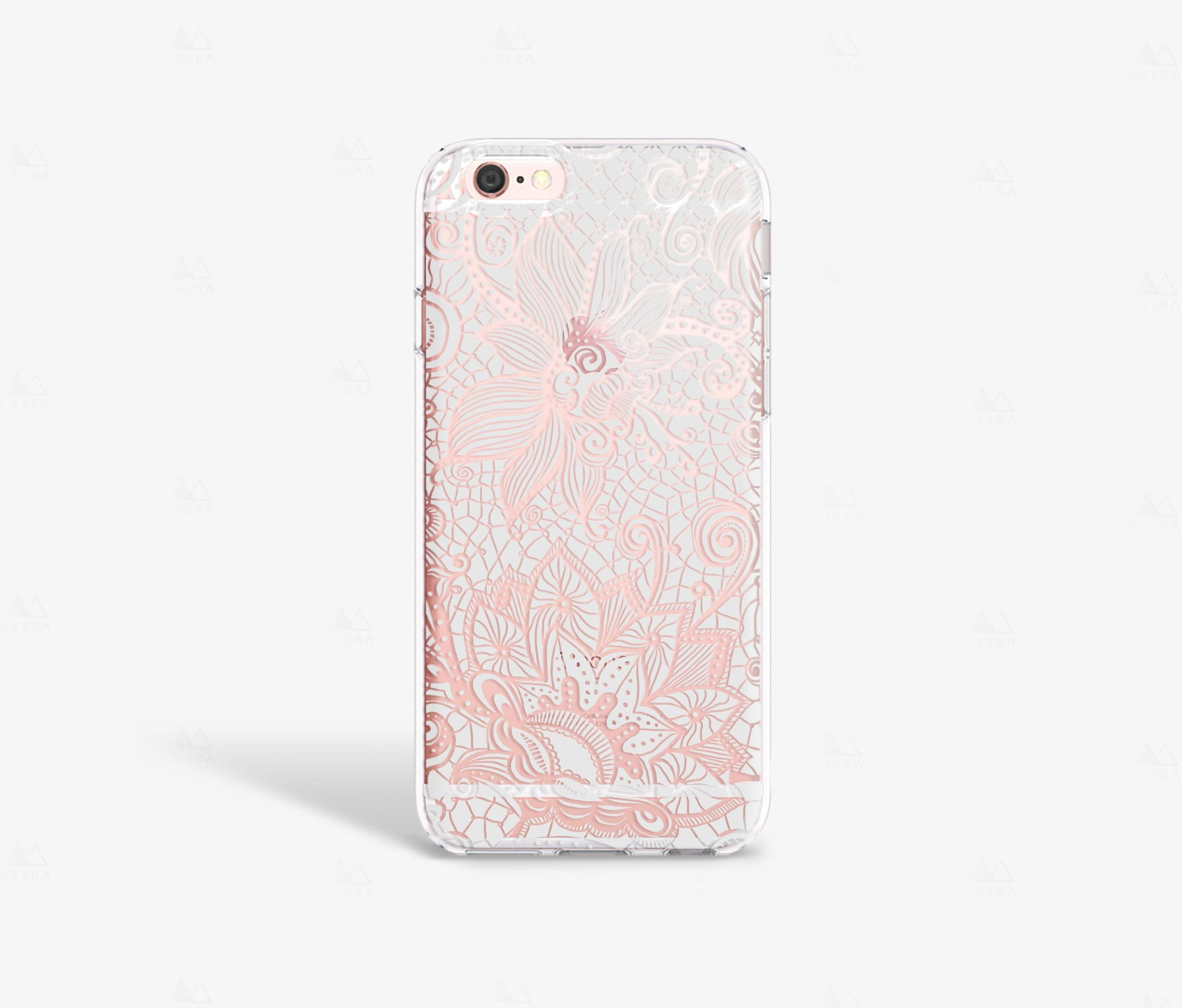 Grey Lace iPhone Case - Clear