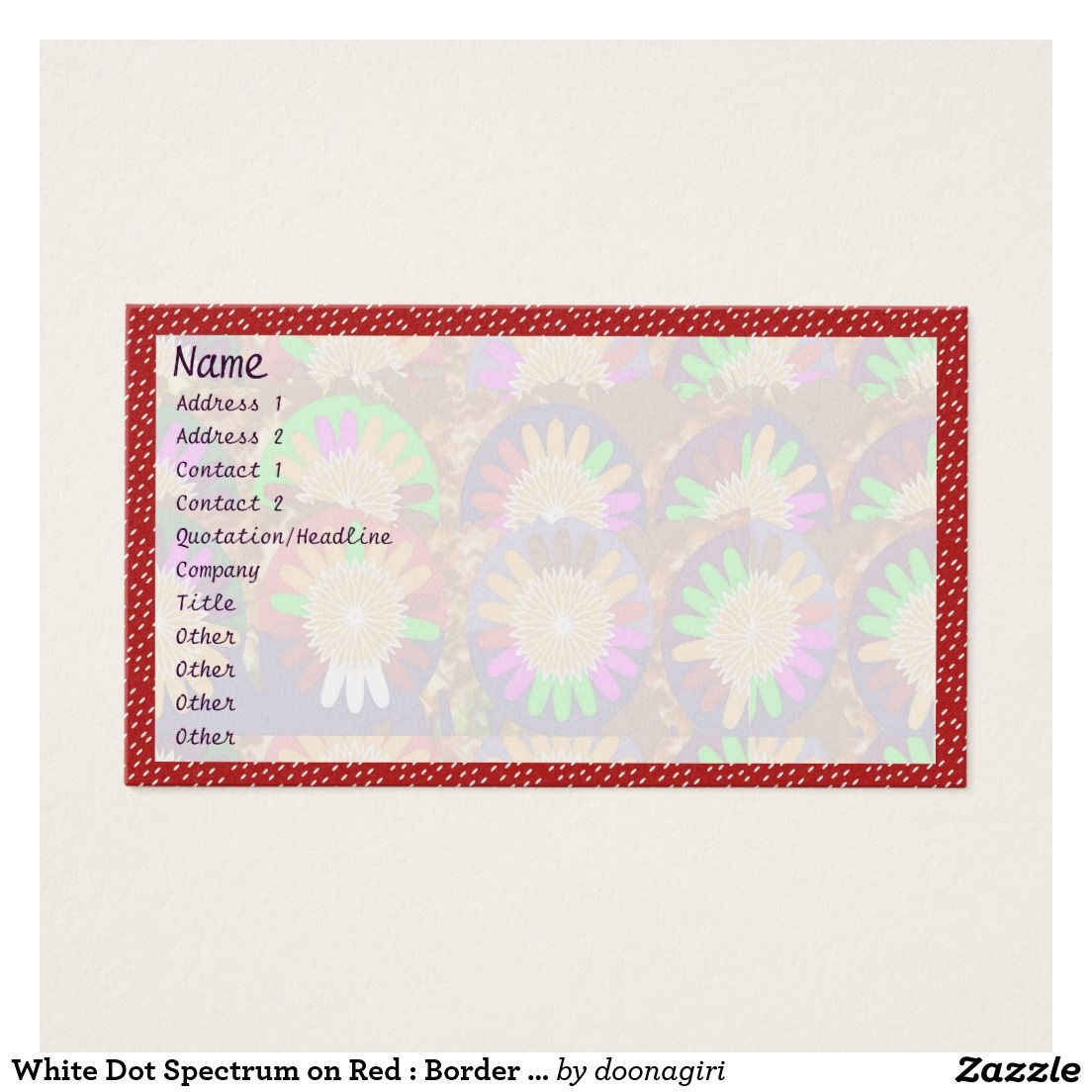 White Dot Spectrum On Red Border Grace Template Business Card