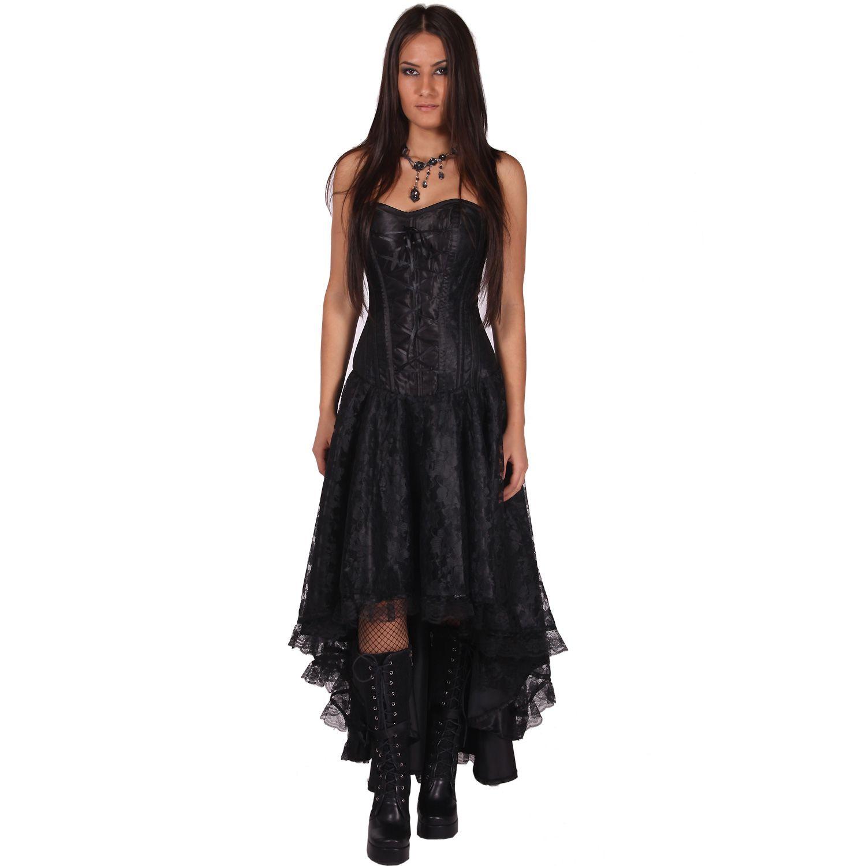 Langes schwarzes Kleid mit Corsage - Mollflander Dress  Kleid mit