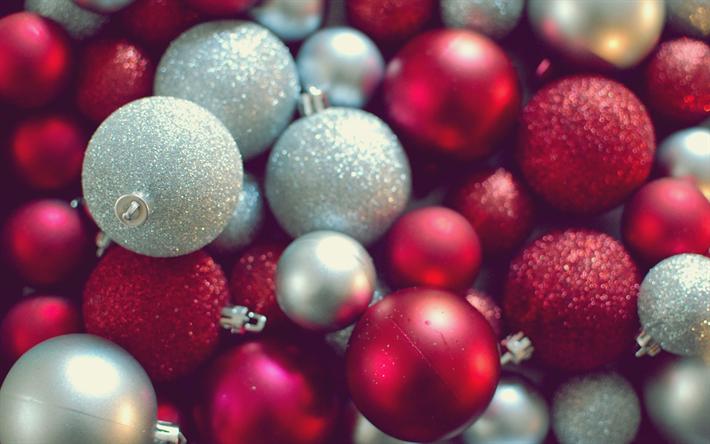 Fond D écran Vacances De Noël: Télécharger Fonds D'écran Rouge Boules De Noël, De La