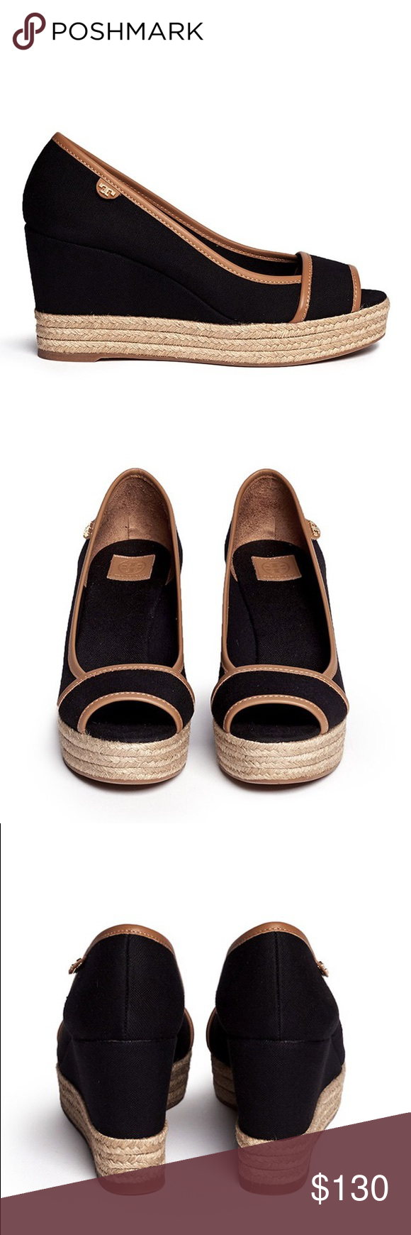 24326be5a408 Tory Burch Majorca Canvas Espadrille Wedge Sandals Elevating both your  style   height with a canvas