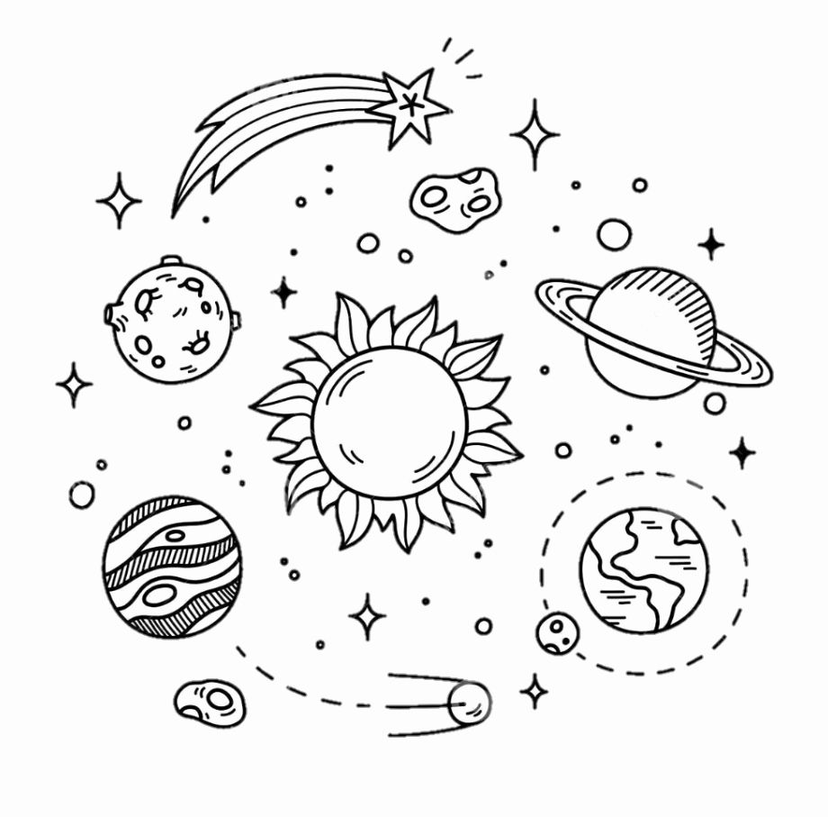 Space Themed Coloring Pages Fresh Aesthetic Space Tumblr Coloring Pages Kesho Wazo Space Drawings Space Doodles Doodle Illustration