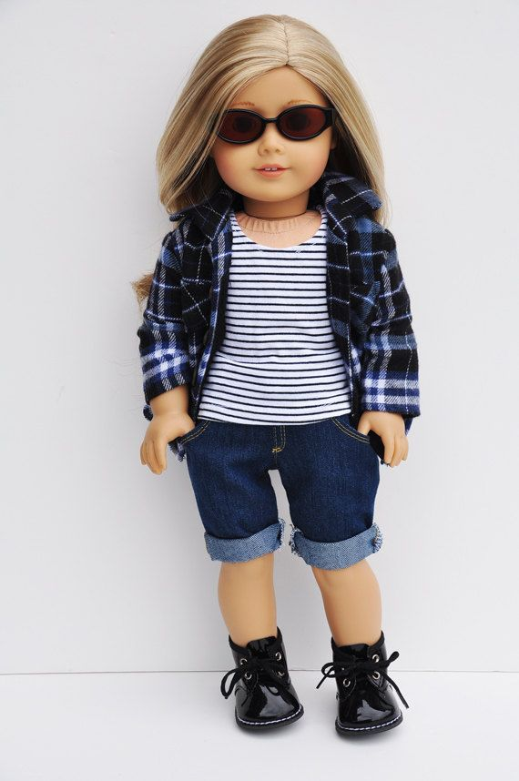 American Girl dolls clothes-navy-black-plaid
