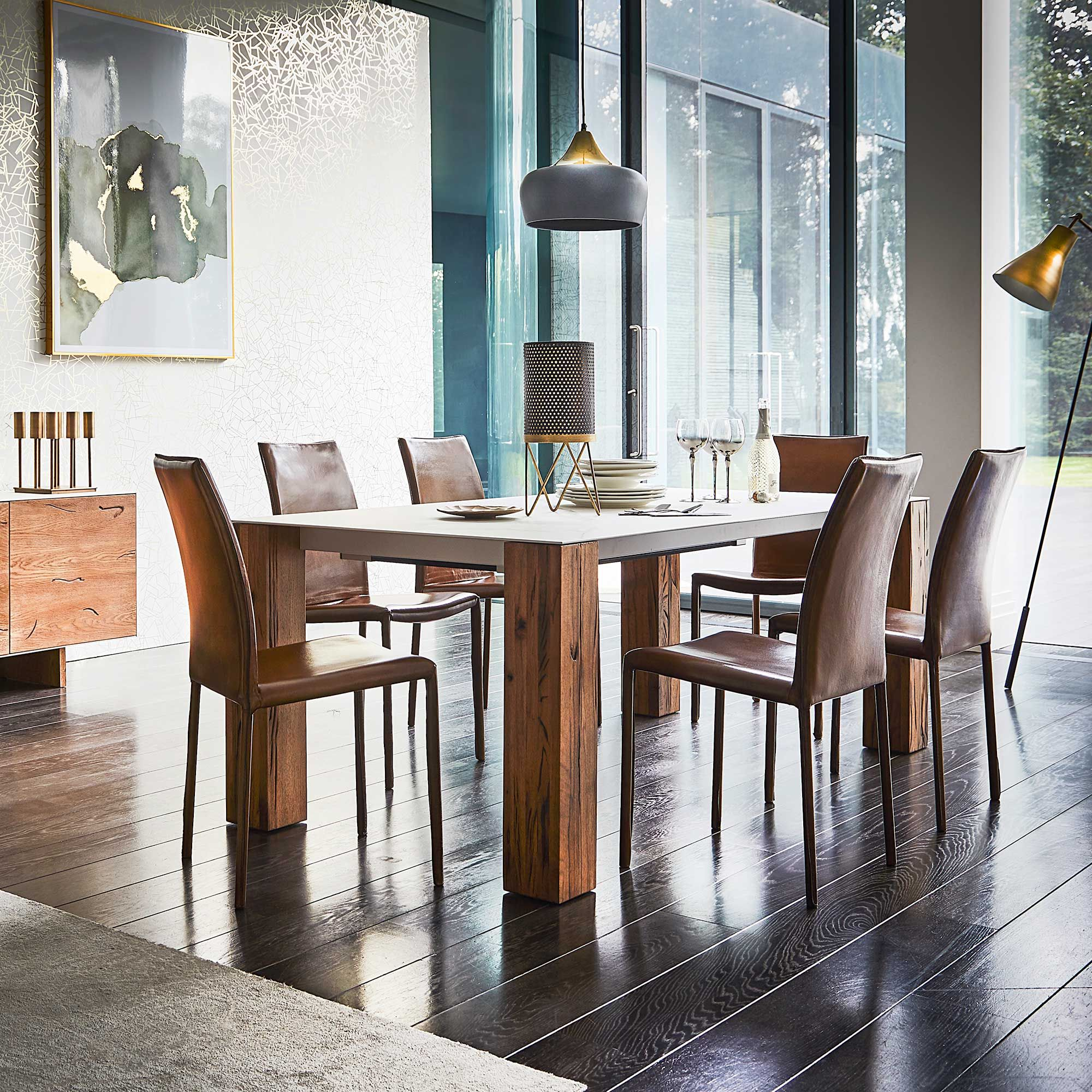 Thin Dining Table Wild Oak And Ceramic  A Sleek Ceramic Table Custom Dining Room Suit Decorating Inspiration
