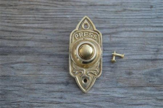 Art Nouveau style brass front doorbell push button bell pusher door bell Z1 Antiques Door Bells & Knockers