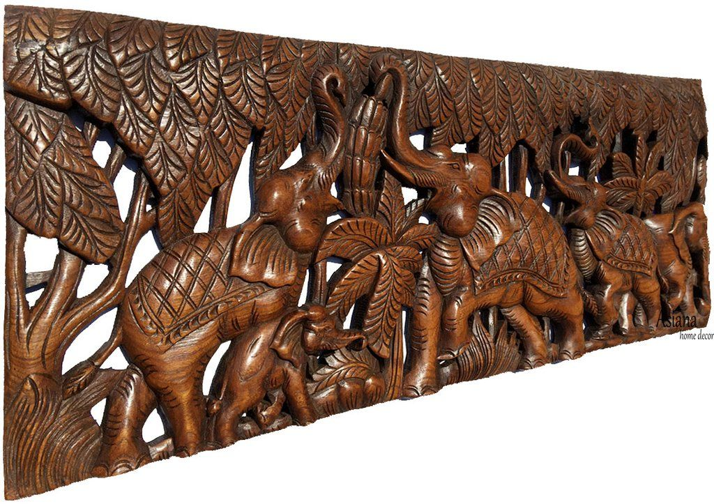 Elephant Family Wood Carved Wall Panel Tropical Home Decor 35 5