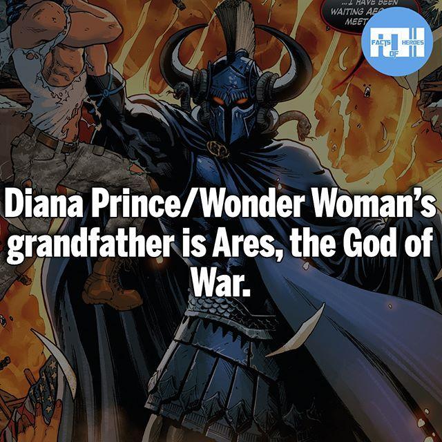 Diana And Ares Are Both Children Of Zeus Making Them Siblings Superhero Facts Superhero Comic Comics Trivia