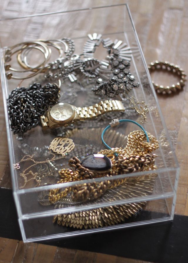 storage idea for jewelry (clear, stackable containers from the Container Store)