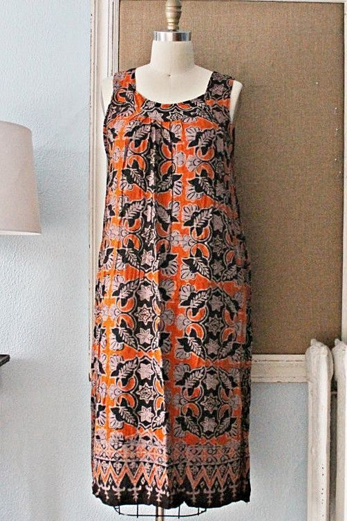 Vintage 1970s Batik + Bohemian Sun Dress