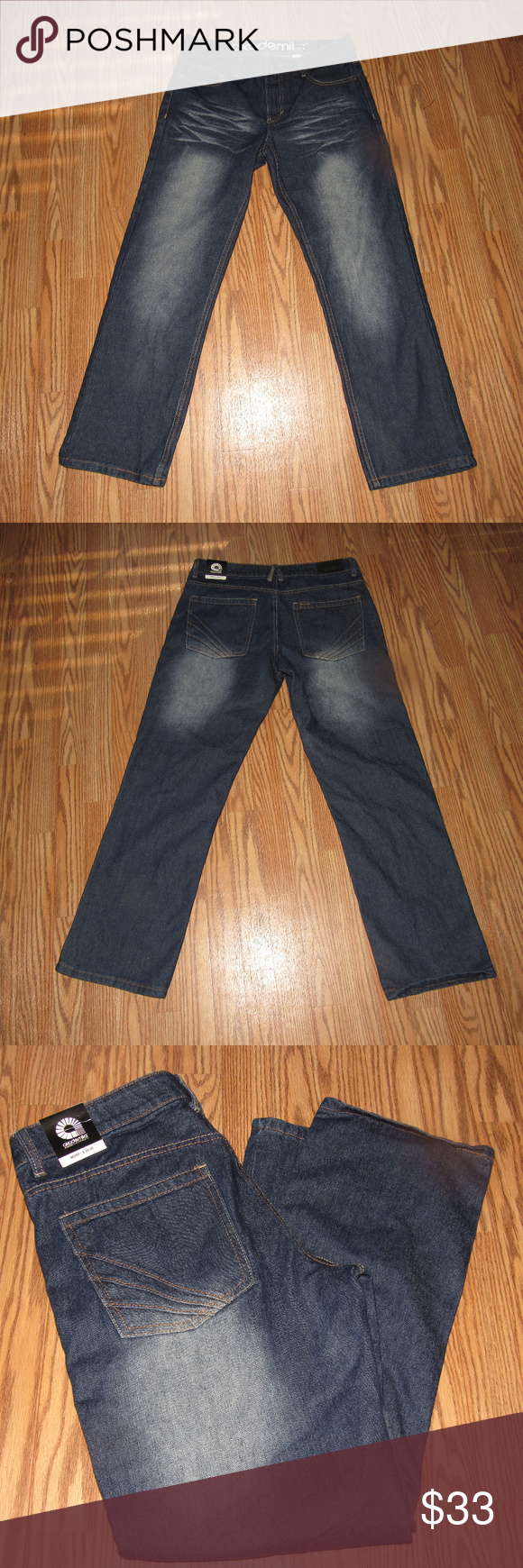 "AKADEMIKS Boys Dark Wash Jeans Size 16 AKADEMIKS Boys Dark Wash Jeans Size 16 •	Zip front with button closure •	Belt loops •	5-pocket style •	Made from 55% cotton; 25% polyester; 20% vicose •	Great condition (tag on back) •	Waist:  approx. 33"" •	Inside leg length:  approx. 29"" Akademiks Bottoms Jeans"