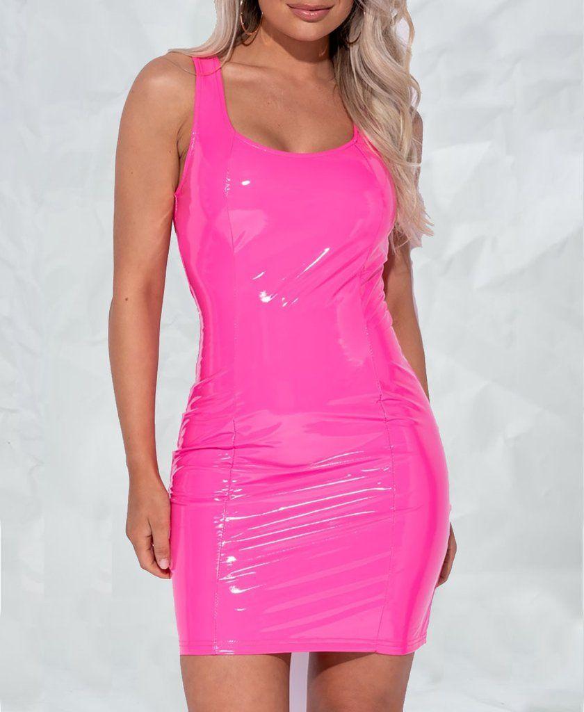 Wetlook Pu Vinyl Neon Mini Dress In 2021 Leather Dress Outfit Neon Pink Dresses Vinyl Dress [ 1024 x 840 Pixel ]
