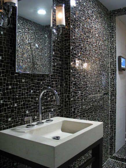 Ann Sacks Black Glass Mosaic Bath Lepsiebyvanie Via Atticmag Mosaic Bathroom Bathroom Tile Designs Modern Bathroom Tile