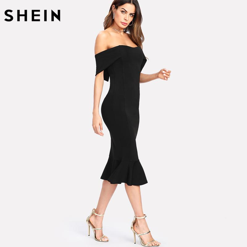 614c83d2f1 SHEIN Flounce Hem Foldover Off Shoulder Party Dress Black Short Sleeve  Pencil Elegant Dresses Drop Waist Bodycon Dress