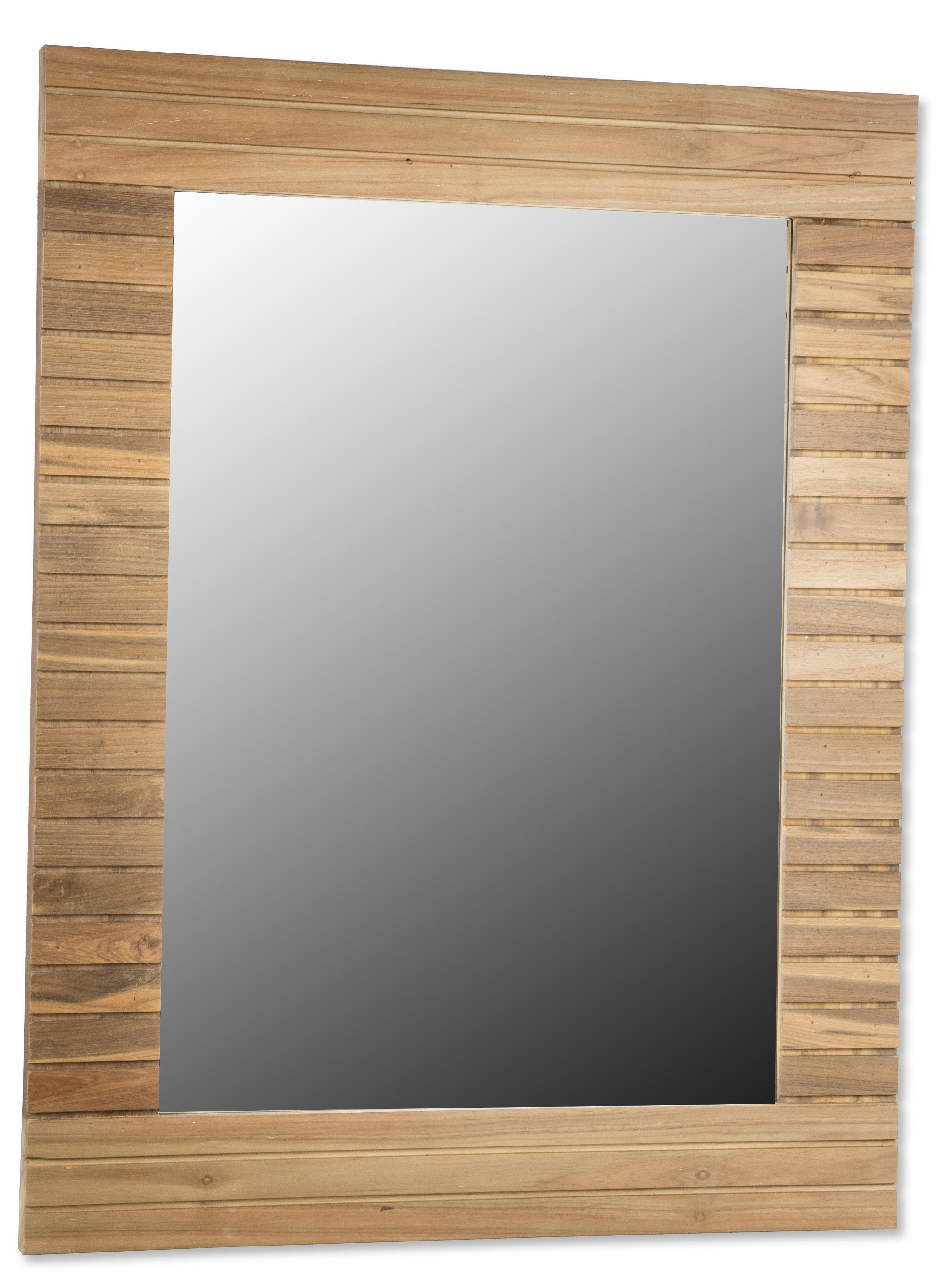 CP Stripes Wall Mirror with Teak Wood Frame for Bathroom Vanity ...