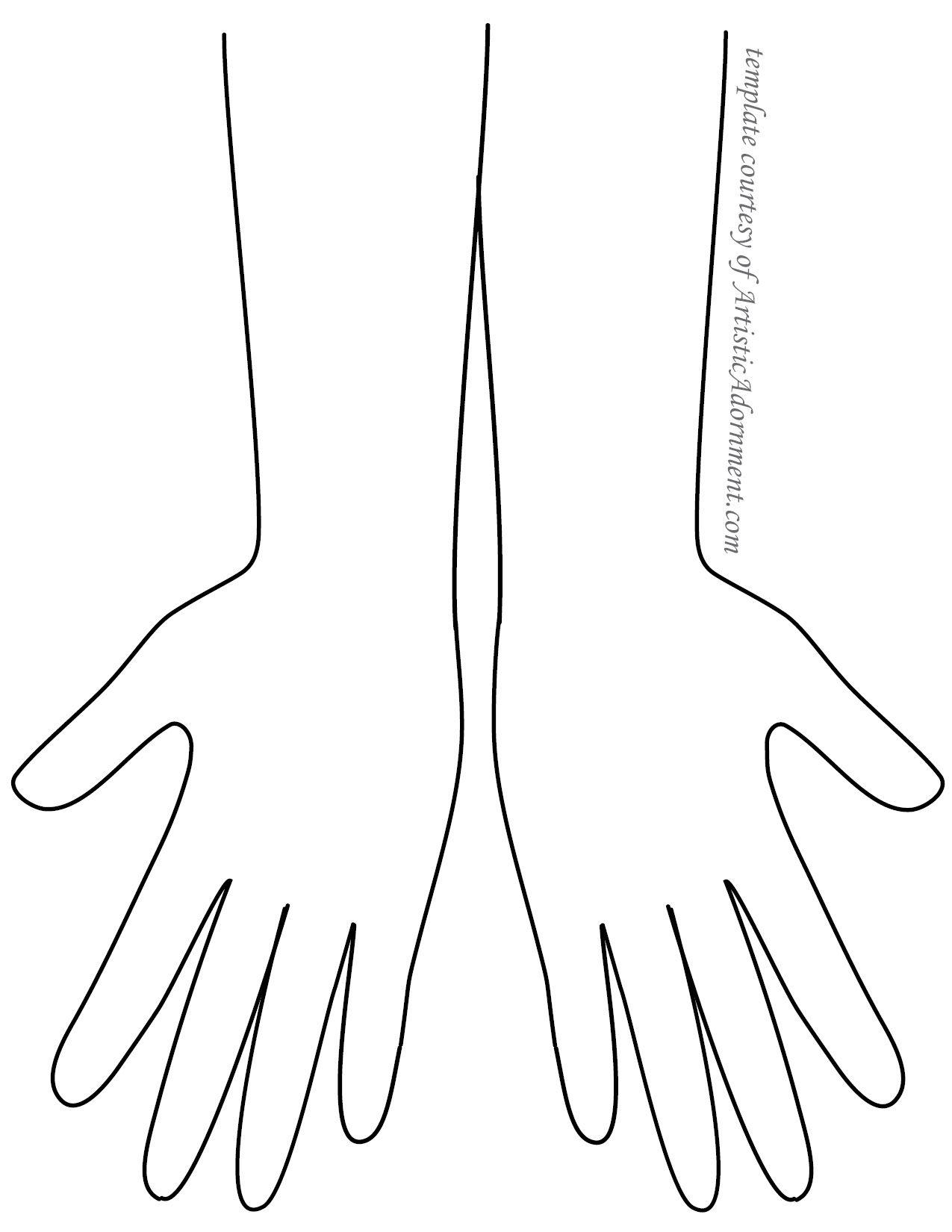 Palm Henna Hand Template
