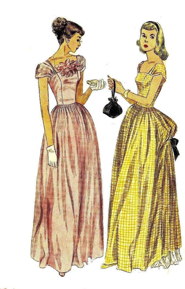 Vintage 1940\'s Sewing Pattern Wedding Evening Dress Bustle Bust 30 ...