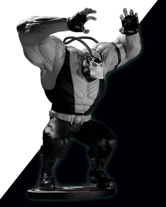 Alter Ego Comics presents the Batman Black and White: #Bane Statue by Kelley Jones.    From Kelley Jones comes the villainous – and venomous – #BANE! In the latest from the Batman: Black and White series, this statue's monochromatic tones pay fitting tribute to one of the #DarkKnight's most powerful enemies.