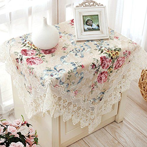 Thai Embroidery Fabric Bedside Table Cloth Towel Round Lace