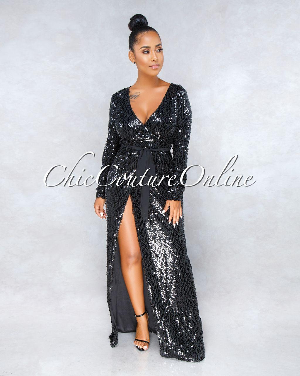 John Zack Sequin Dress Black  Embellished  Sparkle  Midi Maxi