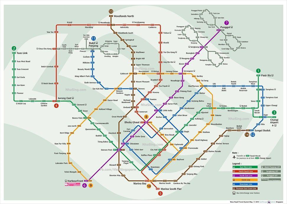 Singapore Mrt Map Ban Do Tau Dien Ngam Sing Singapore Singapore