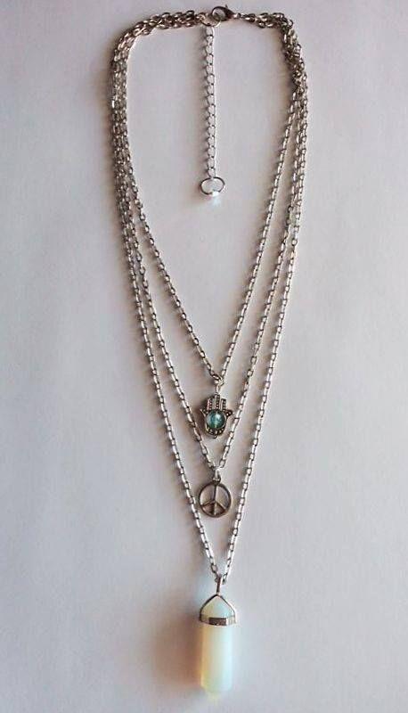 Colar triplo - pendente em Opalita (Pedra da Lua)