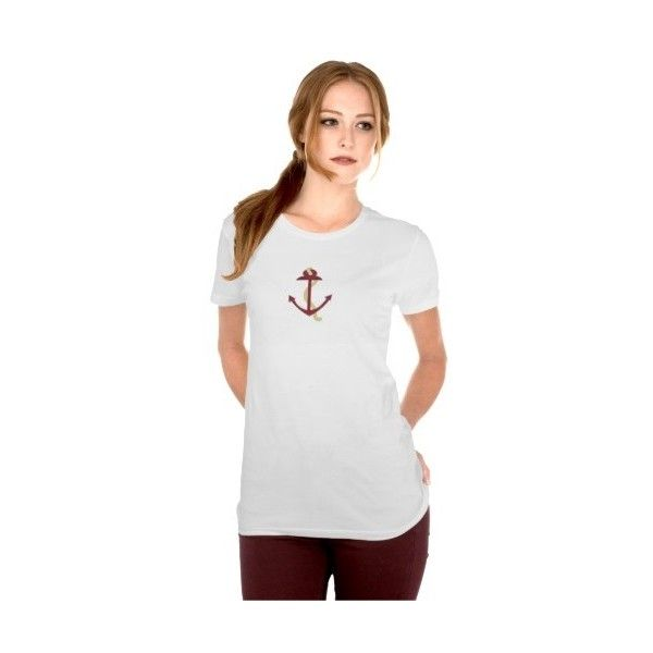 Red Anchor T-shirt (48 BAM) ❤ liked on Polyvore featuring tops, t-shirts, red anchor shirt, red white top, red top, white shirt and red white shirt
