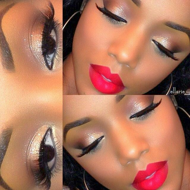 Natural Makeup With A Beautiful Red Lip Black Woman Dark Skin