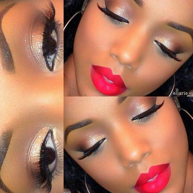 Natural Makeup With A Beautiful Red Lip Black Woman Makeup