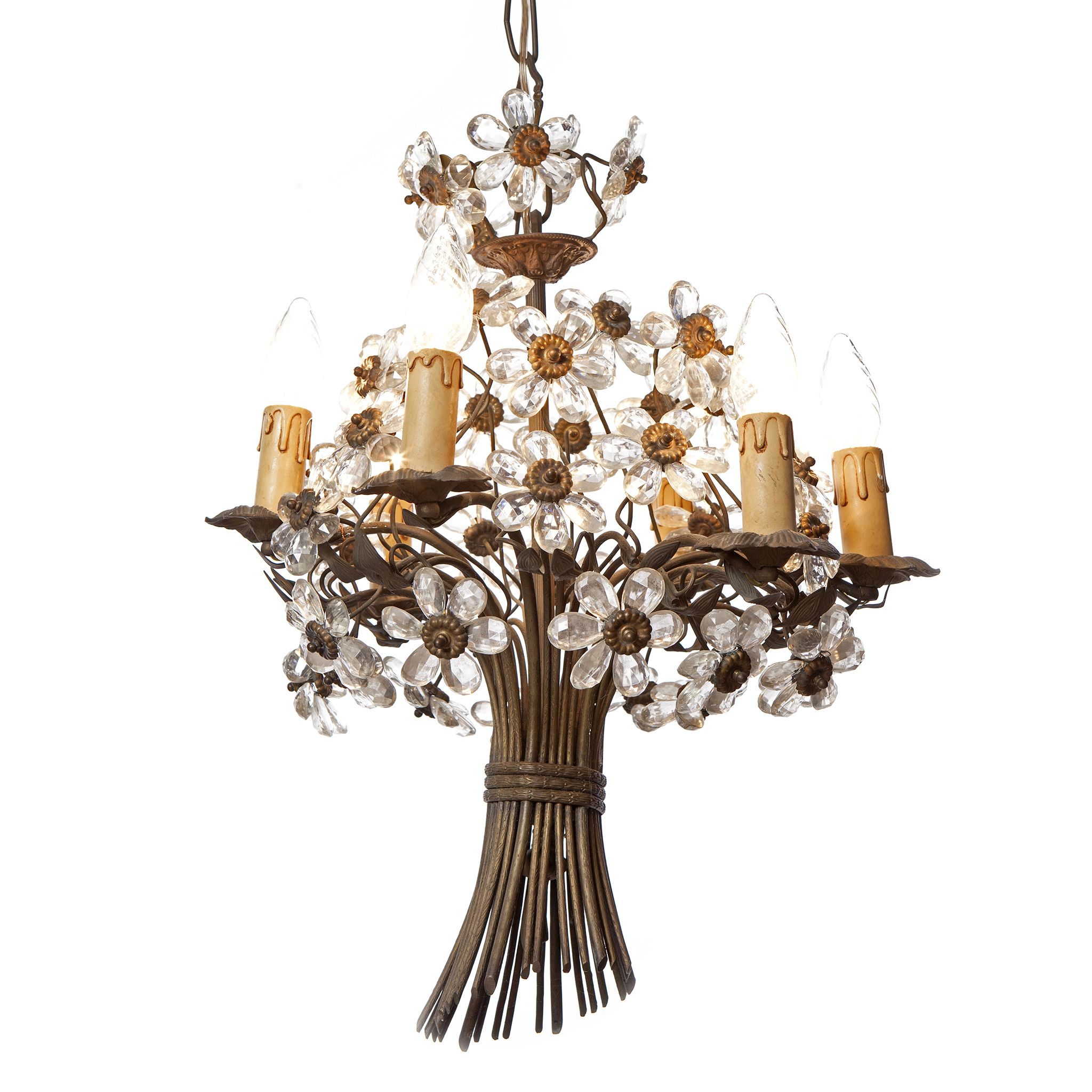 French 1920s chandelier in the shape of a bouquet with crystal french 1920s chandelier in the shape of a bouquet with crystal flowers and bronze stem by arubaitofo Image collections