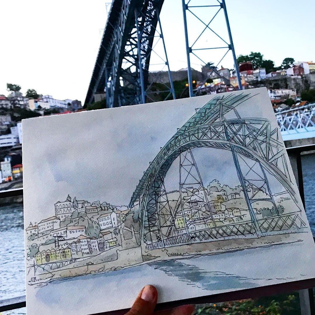"""313 Beğenme, 5 Yorum - Instagram'da Luís Simões (@worldsketchingtour): """"Este é para todos os meus amigos do Porto. Adoro a vossa ponte!! Sketch feito na companhia do…"""""""