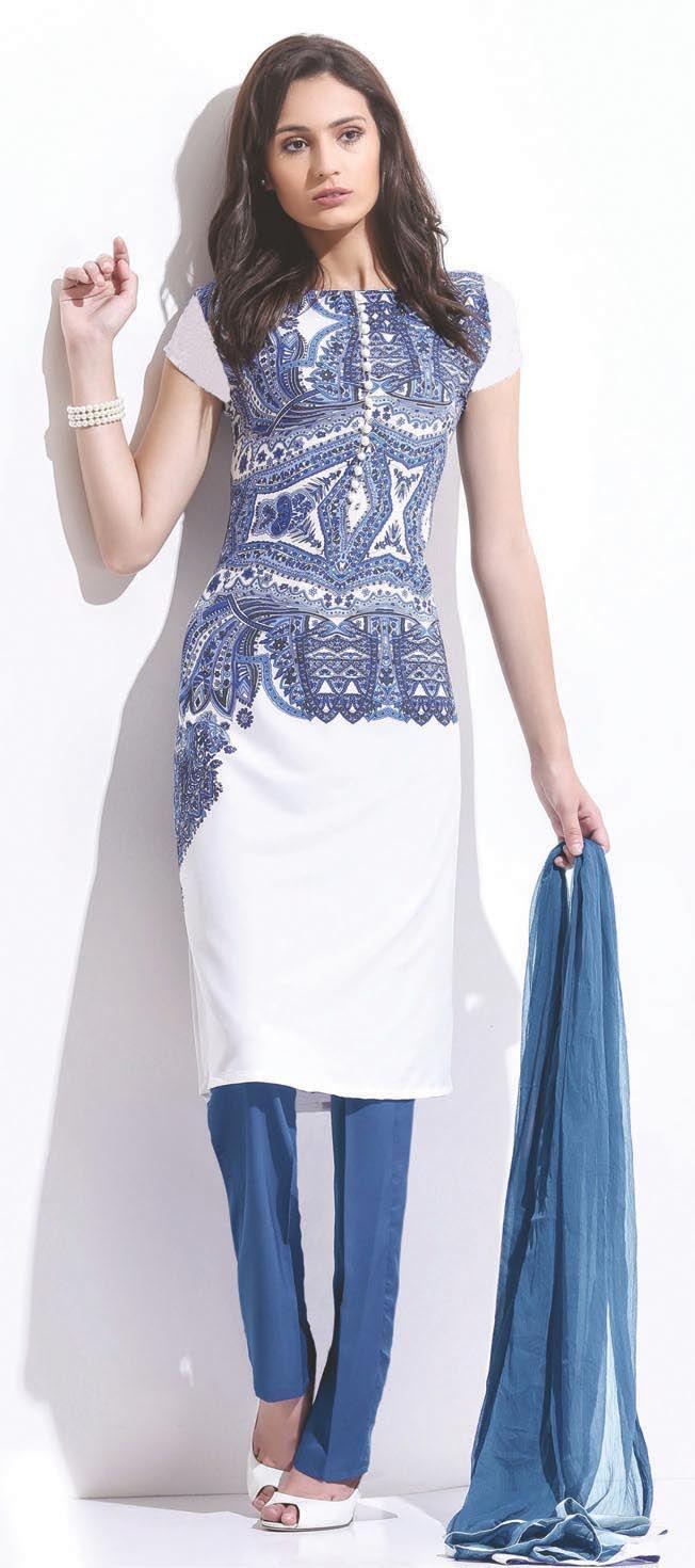 LS-1145 - White - Suits - Ladies Wear - Diya Online