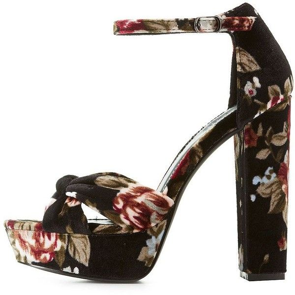 948b71b889e Charlotte Russe Floral Velvet Two-Piece Platform Sandals (25 CAD) ❤ liked  on Polyvore featuring shoes