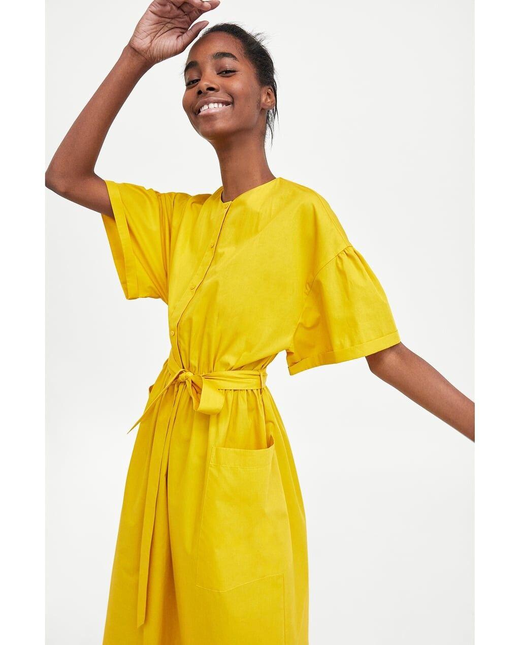 Robe longue jaune zara