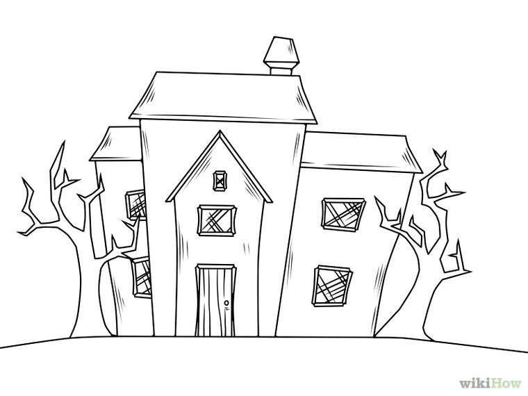 Halloween Spooky House Drawing.Draw A Haunted House Craft Ideas Haunted House Drawing