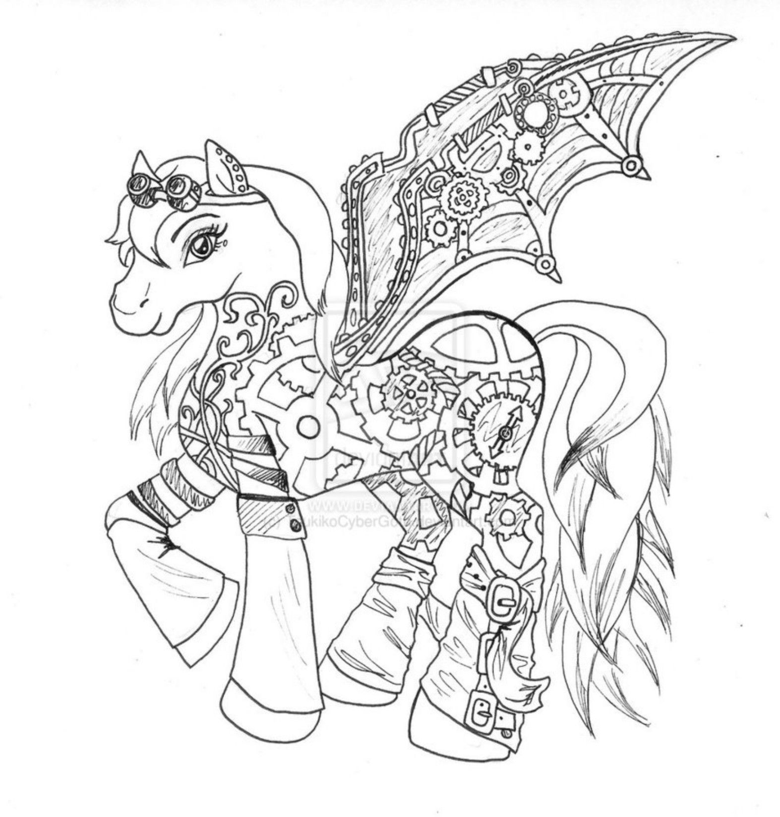 steampunk coloring pages - steampunk my little pony coloring page coloring pages