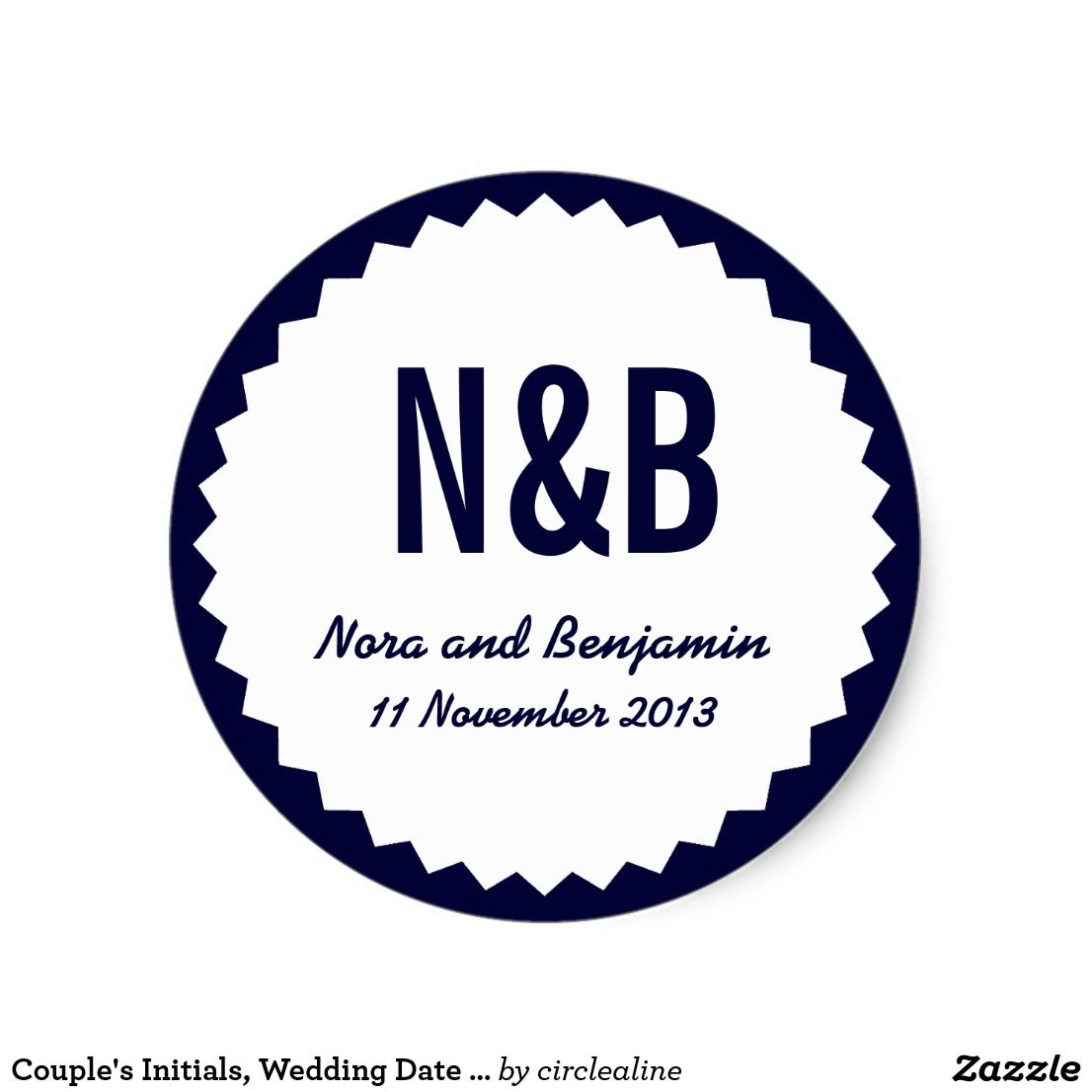 Couple\'s Initials, Wedding Date Favor Seal, Navy Classic Round ...