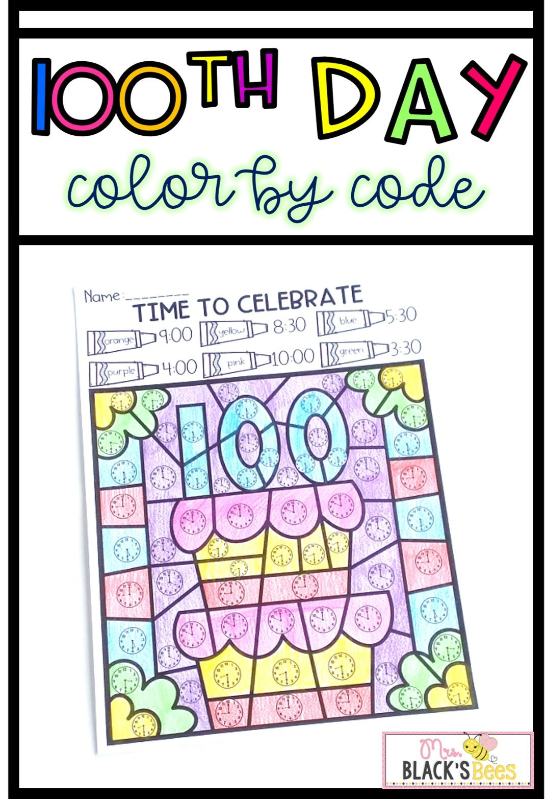 100th Day Of School Color By Code