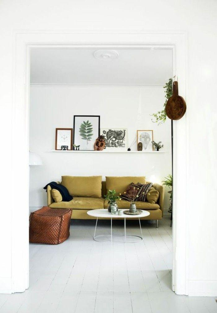 inneneinrichtung wohnideen wohnzimmer grünes sofa wandregal weißer - einrichtungsideen wohnzimmer retro