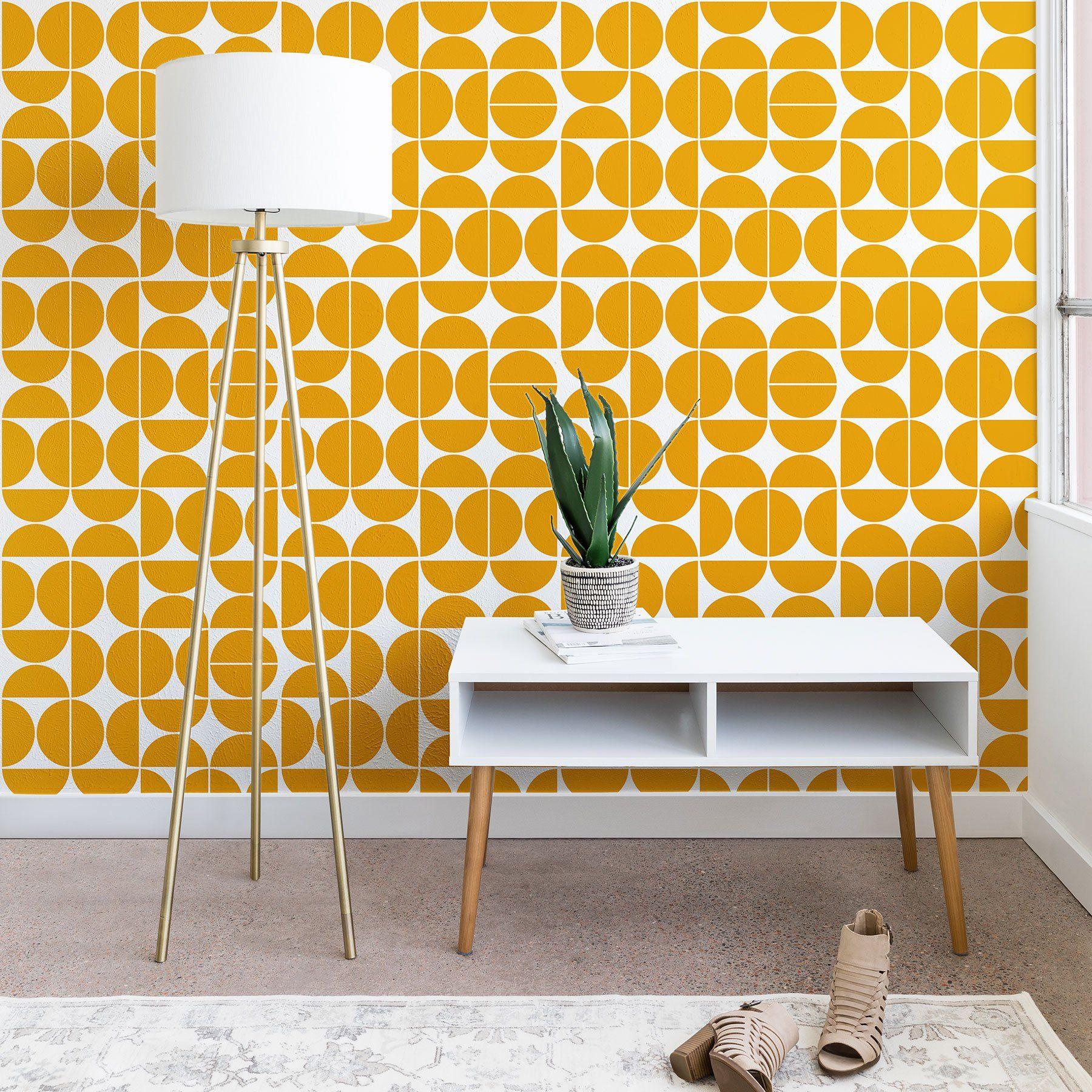 Mid Century Modern 04 Yellow Wallpaper The Old Art Studio ...