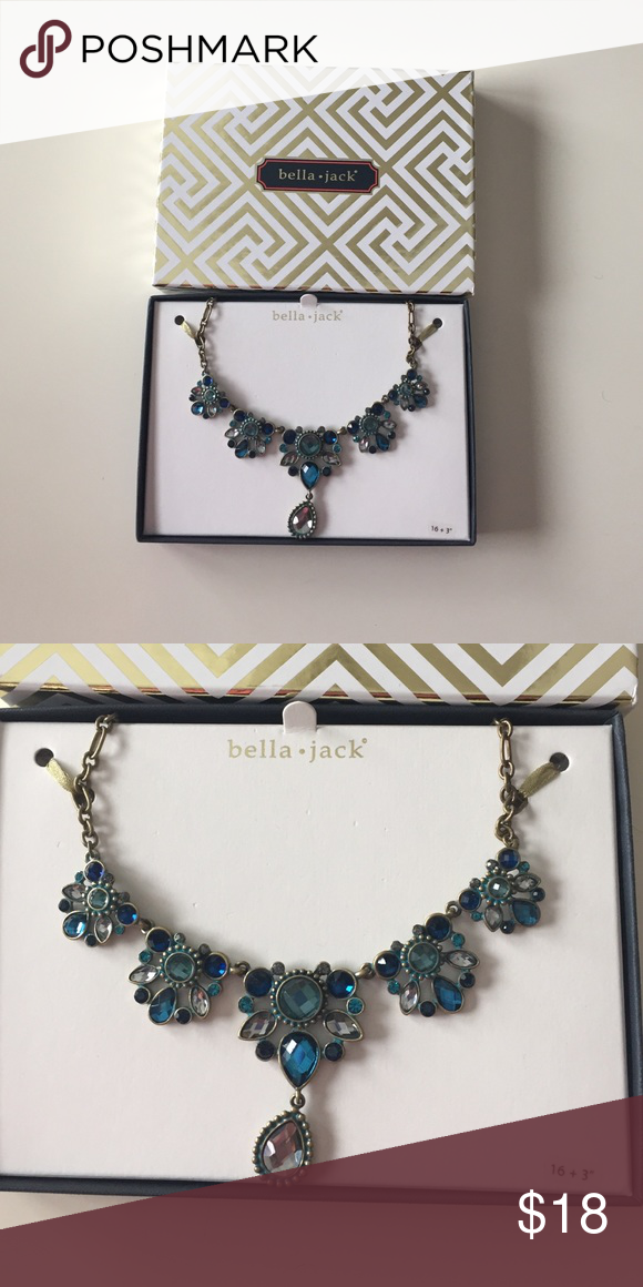 Bella Jack Gold and Blue Statement Necklace NWT | Statement ...
