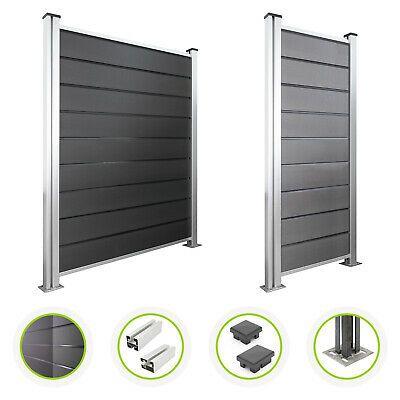 Details zu WPC Zaun Sichtschutzzaun Set anthrazit grau