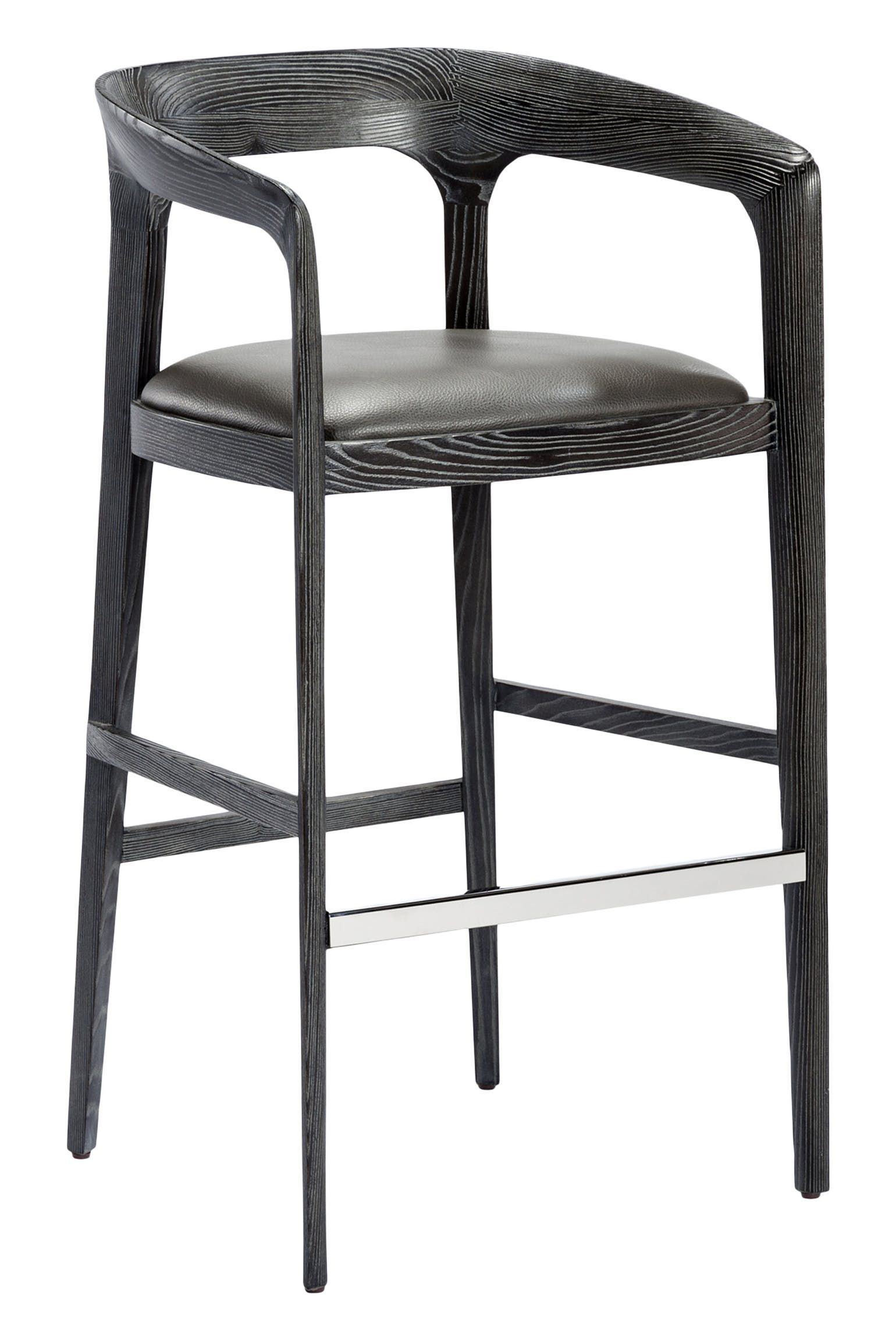 Kendra Bar Stool Grey Art Deco Contemporary Midcentury Modern Transitional Leather Upholstery Fabric Wood Luxury Chairs Modern Home Bar Modern Bar Stools