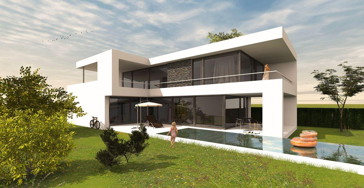 Modernes holzhaus flachdach  Modernes Haus im Bauhausstil - Massivhaus / Wohnhaus | Massivhaus ...