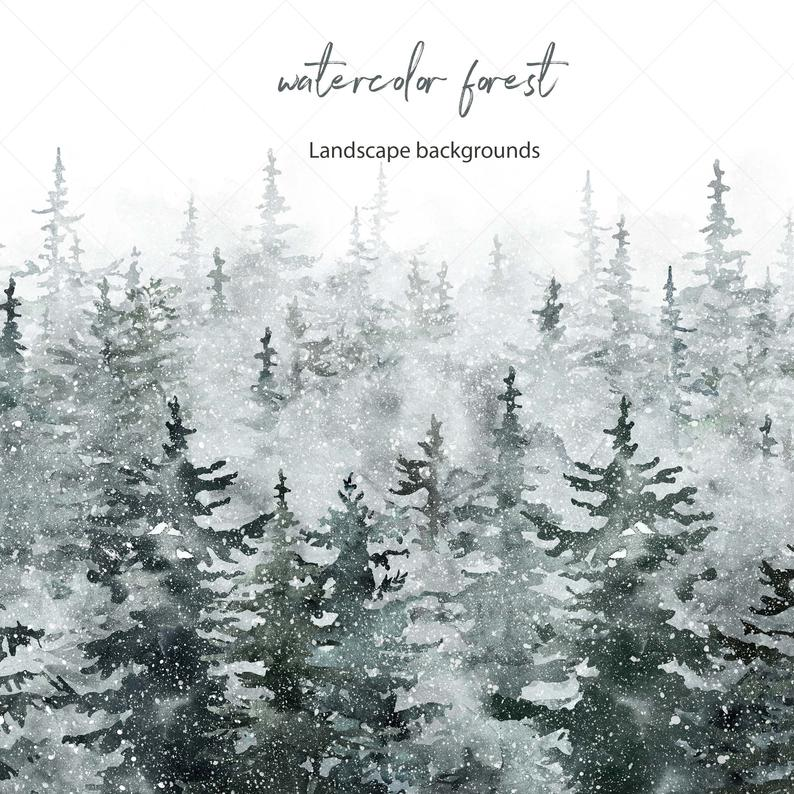 Winter Spruce Forest Clipart Watercolor Pine Tree Landscape Etsy Pine Trees Forest Watercolor Trees Tree Forest
