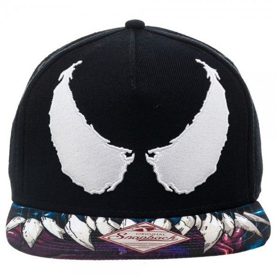 bc0f60bf6af MARVEL COMICS SPIDER-MAN VENOM EYES BLACK SNAPBACK CAP WITH PRINTED VISOR -  Spike Dabomb