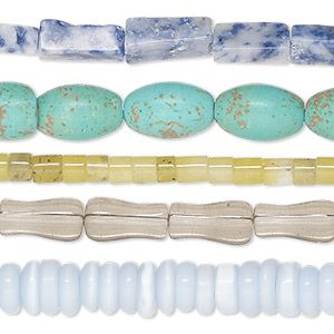 Bead mix, multi-gemstone (natural / dyed / heated / irradiated / imitation / man-made) and glass, mixed colors, 4x2mm-12x8mm mixed shapes with 0.5-1.