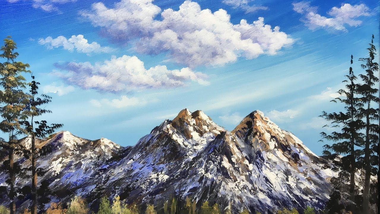 Simple Mountain With Blue Sky Acrylic Painting Exercise Lesson 2 Acrylic Exercise In 2020 Mountain Paintings Mountain Painting Acrylic Nature Paintings Acrylic