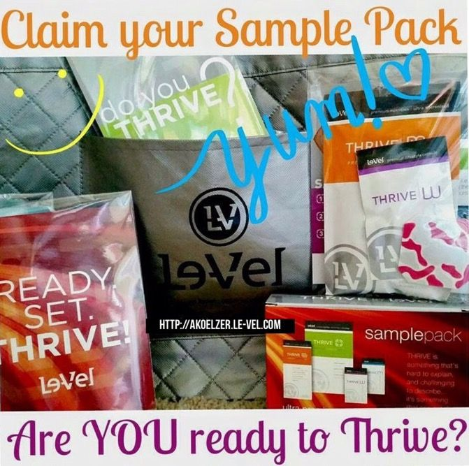 Free Sample Package 3-day packs, Start Today By 1)Registering Free Account http://akoelzer.le-vel.com 2)Listen in Prerecorded Call 5minutes 530-881-1499 access code 137907# 3)Read a Few Testimonials how Thrive Has Changed People's Lives @ www.facebook.com/levelbrands Do all 3steps any order comment below or Email me with any questions thriveakoelzer@gmail.com I'll contact you via email after you register to get your address to mail 3 day sample to.  No obligation free no spam!